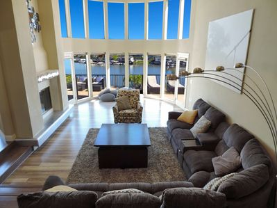Upper living room with view of Lido Bay.  Rock pillows and recliners to relax on