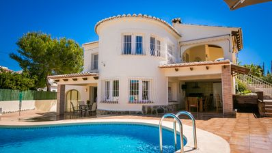 Photo for A modern detached five-bedroom villa with pool and jacuzzi - Sleeps up to 14