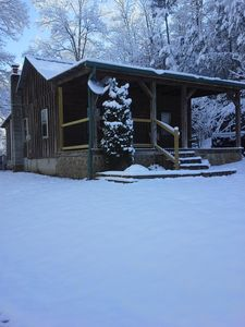 The cabin is warm and cozy no matter how cold outside