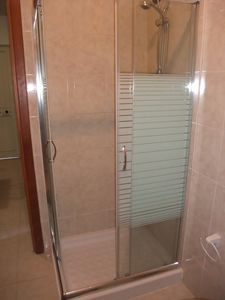Shower in sea view apartment sleeps 4