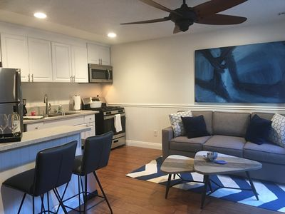 Coastal living room, with a queen sleeper sofa with memory foam