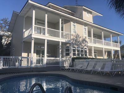 Photo for Large family space, private pool, many decks and water views!