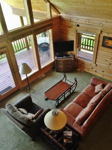 Photo for Beautiful Log Cabin Home on Golf Course, Large Decks, Mountain Valley Views