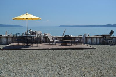 View over Port Susan Bay from patio, deck, kitchen, dining & living rooms