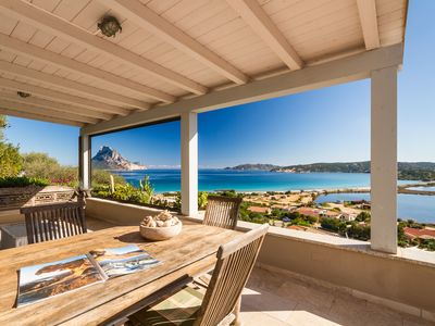 Photo for Fantastic view from the large terrace at mt. 250 from the beach of Porto Taverna