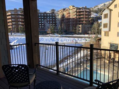 King Suite at Canyons Village with Mtn views, pool views & private deck!