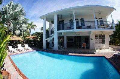2 levels with a large private pool and gated yard