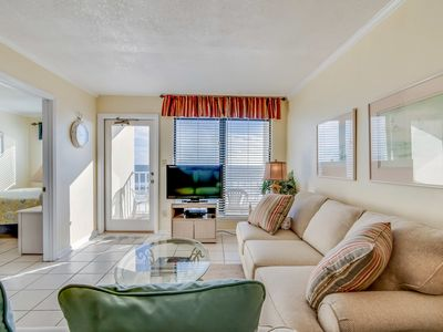 Photo for Waterfront condo w/ a furnished balcony, beach views, & a shared pool