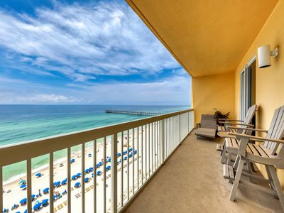 Photo for Beach-view high-rise condo with shared pool, central location!