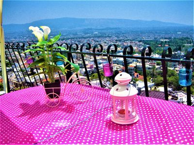 Photo for Modern and quiet top floor studio! 360o view of Athens and huge private terrace!