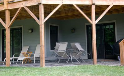 Renter's Private Patio with B-B-Q Gas Grill, Table and Chaise Lounges