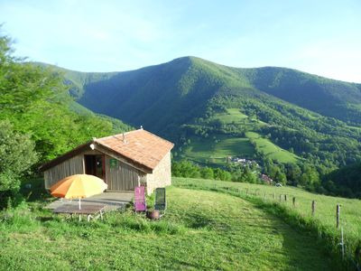 Photo for Panoramic view, isolated in the mountains, eco-renovation