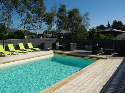 Photo for Beachfront cottage, heated pool, 1,5km from the beach, WIFI