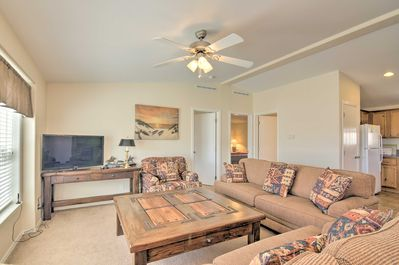 The 2,000-square-foot vacation rental includes 3 bedrooms and 2 bathrooms.