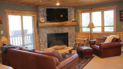 Family room has a gas fireplace and a 50' TV with cable and free wifi access.Fre
