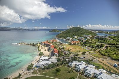 Aerial view of the property and Sapphire Beach