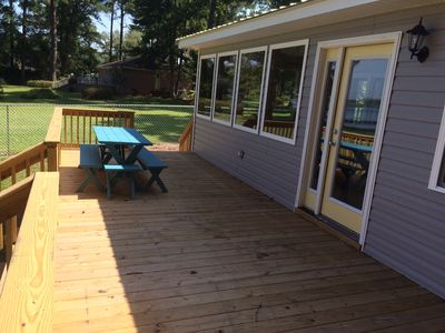Spacious back deck, full width of cottage.