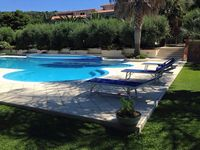 Lovely house in a very well kept small condo with beautiful.gardens and pool overlooking the sea.