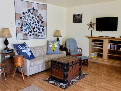 Comfortable living room with television and DVD player