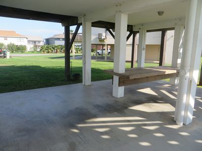 Large patio with built-in picnic table - ideal for outdoor fun day or night