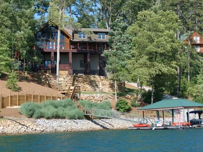 Photo for Luxurious Rustic Log Home with Great Water Views and Sunsets!