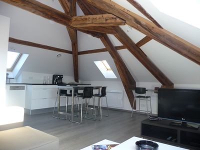 Photo for charm and open view for this apartment type 2 in the heart of Annecy with garage