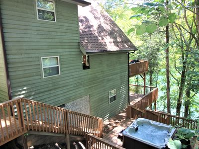 Photo for 'Harmony Hill' waterfront cabin w/hot tub,  & gentle slope to private dock