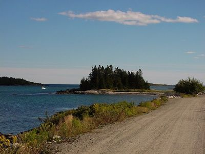 Approach to Mill Point, an island you can drive to! The cottage is behind trees.