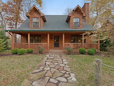 Photo for Log-cabin-style home with hot tub and close proximity to the lake!