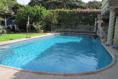 All yours,  Salt Water solar-heated pool.