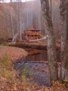cabin from creek (Reflections)