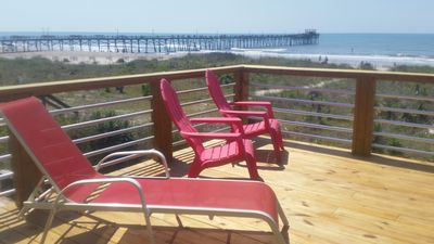 Photo for DIRECT OCEANFRONT Duplex with large 3 level deck next to Oceanana Fishing Pier.