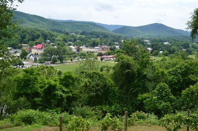 Summer view of town of Buchanan from back yard.
