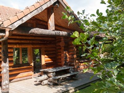 Photo for Beautiful log cabin by the river in the Vosges, wifi, fully equipped