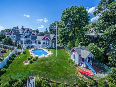 aerial view of backyard of Victorian home with tandem kayak