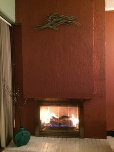 Warm fireplace is perfect.