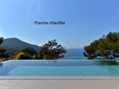 Photo for Sea views, mirror pool, modern architecture, 5-min walk to La Madrague Beach