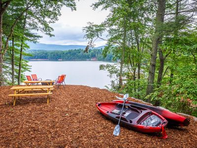 Photo for The Water and Mountain Views are calling! Lakefront with Private Dock & kayaks!