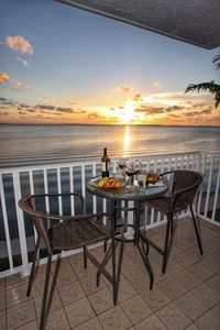 Sunset and Dinner on our 1st Floor Balcony