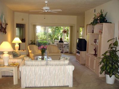 Living room with view of lanai