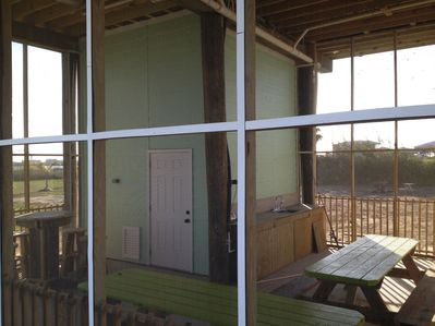 Inclosed Porch with cleaning table and sink