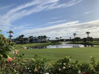 Golf course views right at your patio and Beach right past the palm trees.
