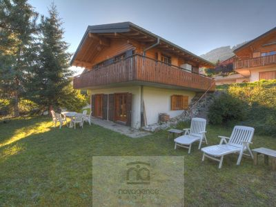 Photo for Nice chalet with a lawn on two floors. At ground floor there is a bedroom with little double bed (14