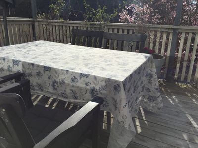 Dining table outside, sun from noon to sunset