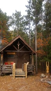 Photo for VIKING Culture Cabin next to Lake Superior sand beach, among beautiful red pines