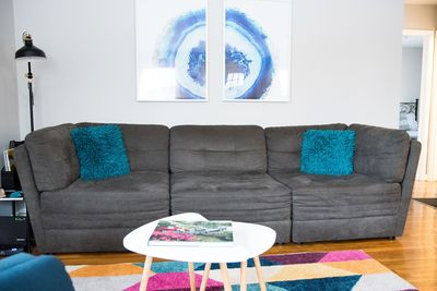 The couch easily accommodates good conversation and reading time