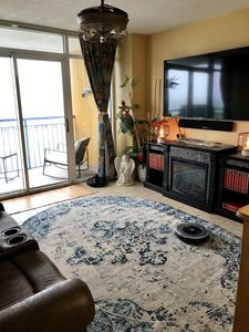 TV, fireplace, theater seating and direct oceanfront view.