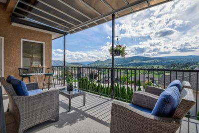 Enjoy the view of the valley and mountains from the upper deck.