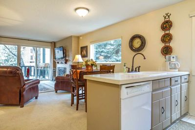 Open floor plan combines the kitchen, dining and living areas.