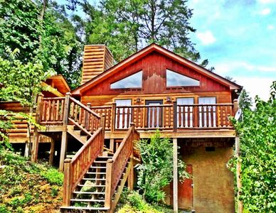 Photo for Secluded Cute Smoky Mountain Cabin GSMNP! Gburg PForge Hot Tub